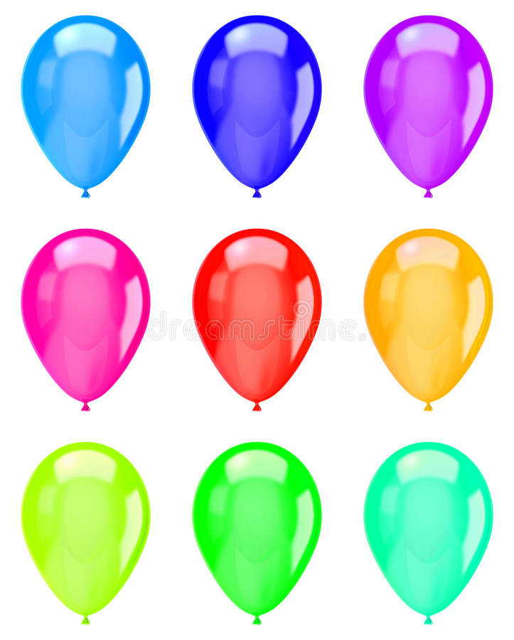 Collection colorée d'isolement de ballons illustration stock