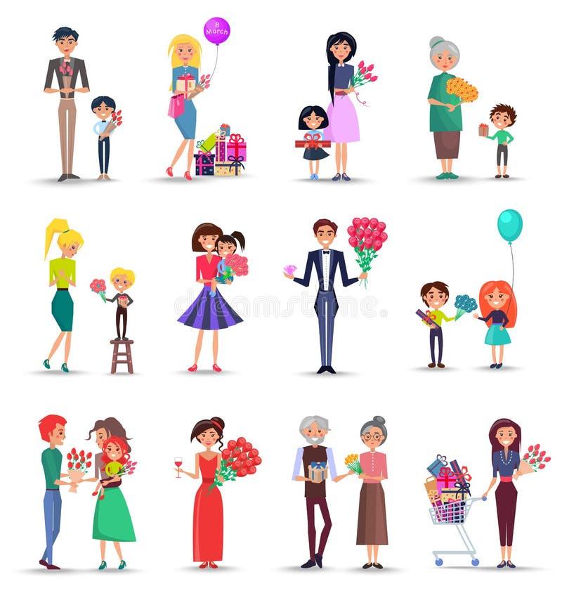 Collection colorée de concept de jour des femmes s sur le blanc illustration libre de droits