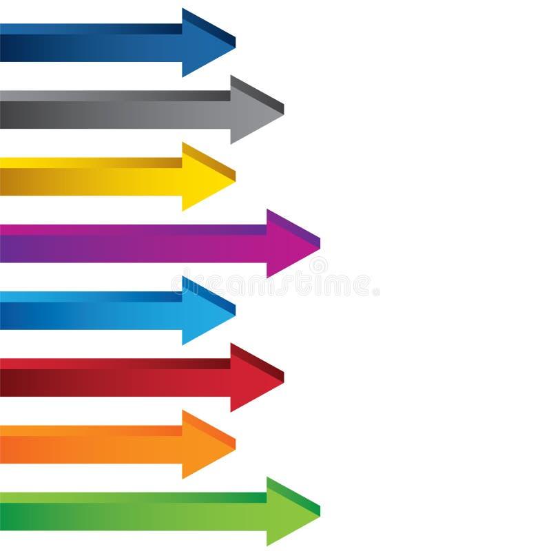 Collection colorée de flèches de diagramme du blanc 3D images libres de droits