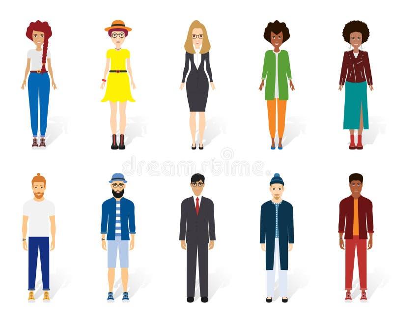 Collection colorée de personnes de vecteur Dirigez la conception de diff?rents caract?res comprenant l'homme et des femmes Concep illustration stock