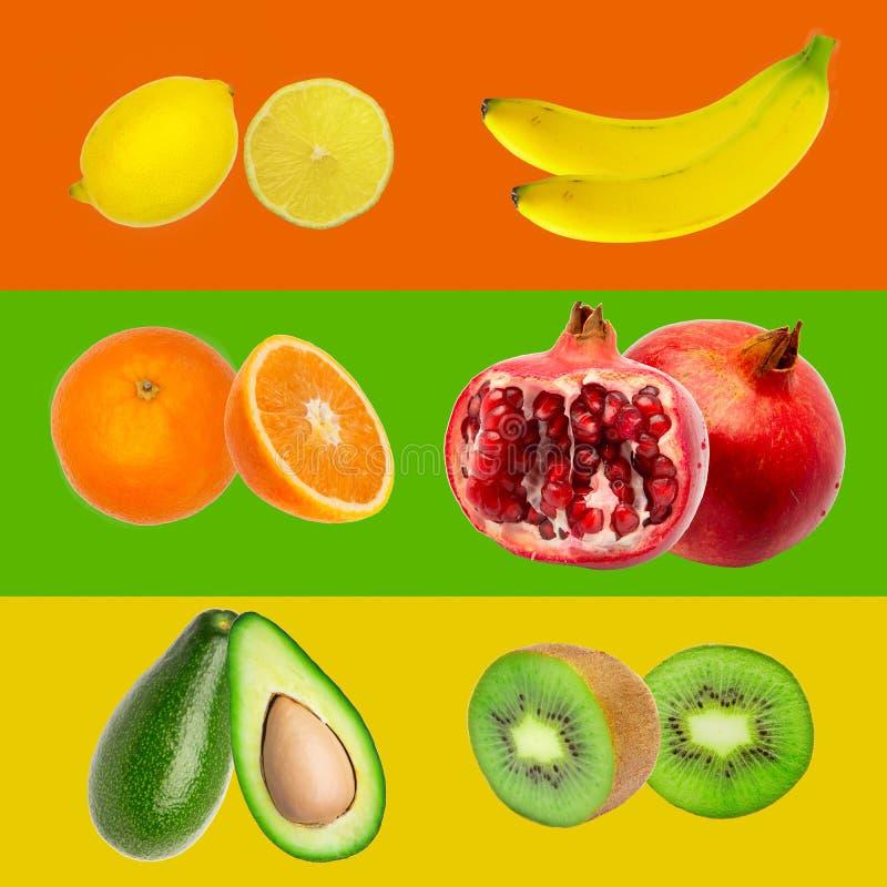 Collection colorée de rayures de fruit d'arc-en-ciel sur le fond coloré image libre de droits