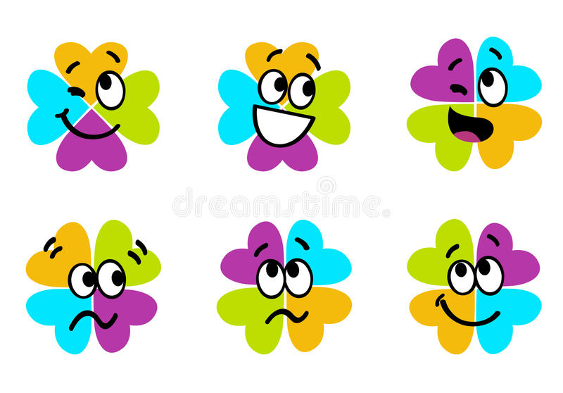 Collection colorée mignonne de trèfle de quatre lames illustration libre de droits