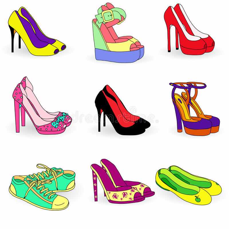 Download Collection Of Color  Fashion Woman Shoes Stock Vector - Image: 30470121