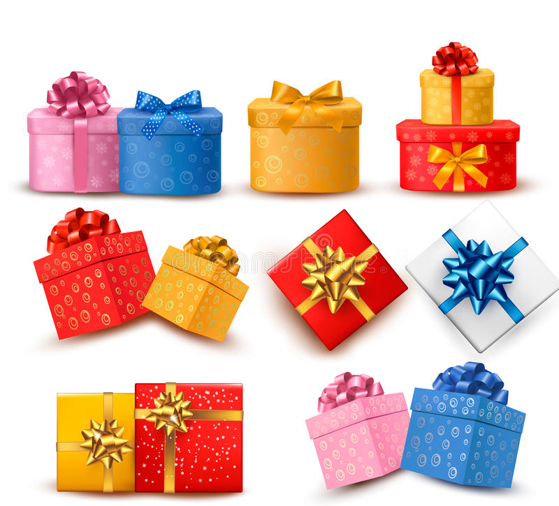 Collection of color gift boxes vector illustration