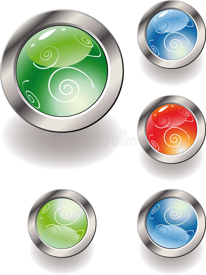 Collection of color glossy buttons. royalty free illustration