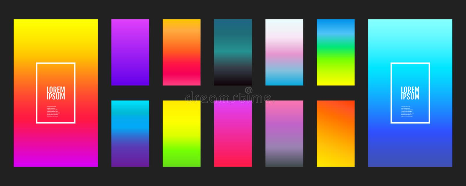 Collection of color gradients background on a dark background. Modern vector screen design for mobile application. Soft color. Gradients. Vector illustration royalty free illustration
