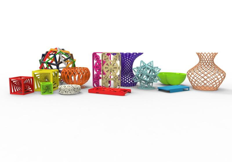 Collection of colored complex typical 3D print products vector illustration