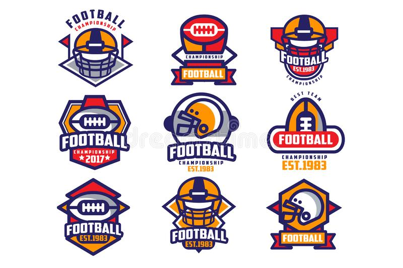 Collection of colorful American football logo. Labels with oval-shaped rugby balls and protective helmets. Sports. Emblems. Design for team badge. Flat vector royalty free illustration