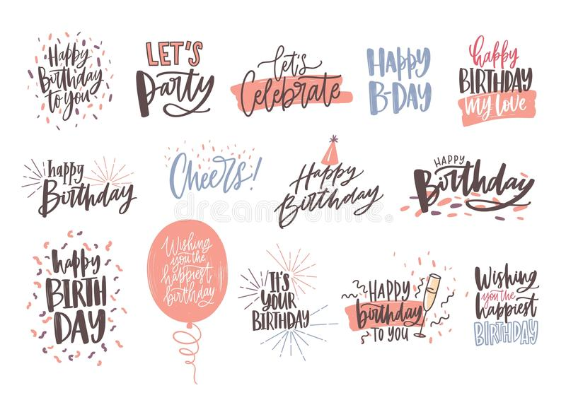Collection of colorful birthday wishes or hand drawn lettering decorated with festive elements - party hat, glass of royalty free illustration
