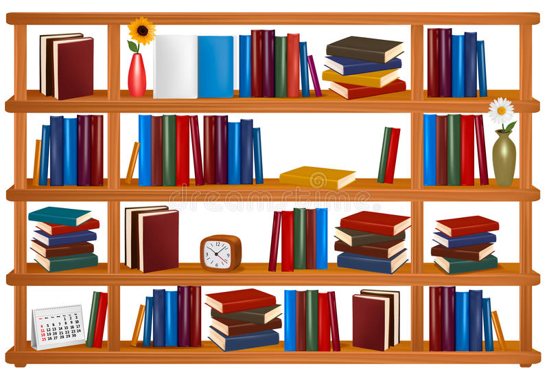 Collection Of Colorful Books On Wooden Bookshelves Stock Vector .