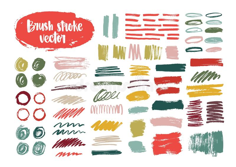 Collection of colorful brush strokes, paint traces, smudges, smears, stains, scribble isolated on white background. Set stock illustration