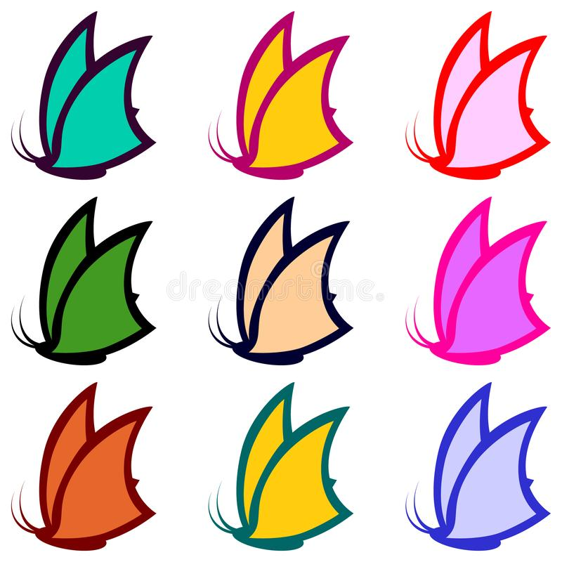 Collection of colorful butterflies for decor. Icons set. Vector Illustrations. royalty free illustration