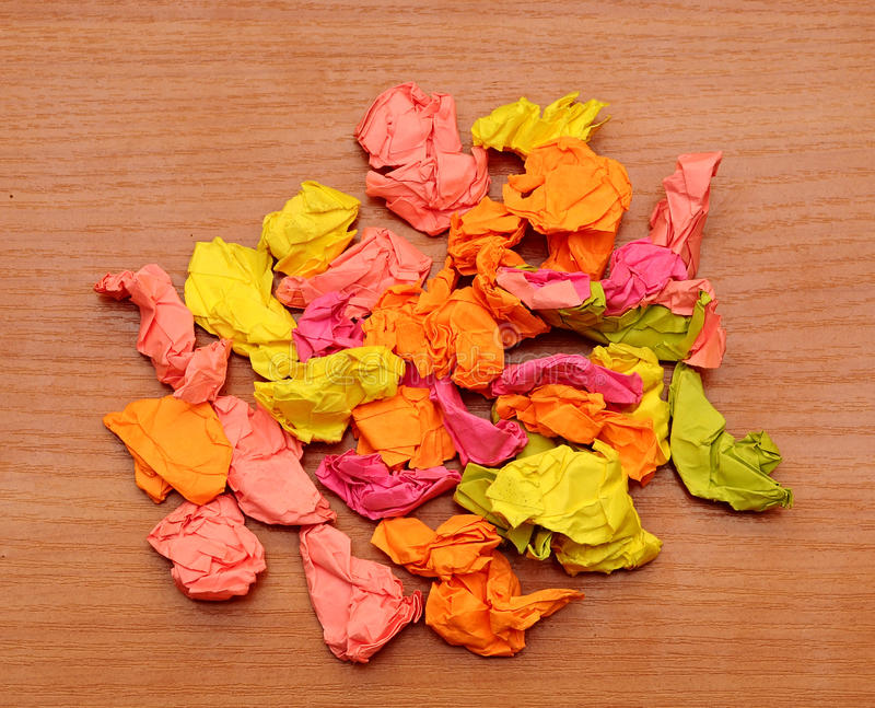 Collection of colorful crumpled papers stock photos