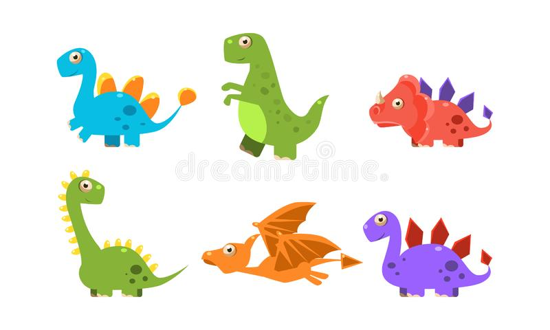 Collection of colorful cute dinosaurs, happy cartoon dino characters vector Illustration. Isolated on a white background royalty free illustration