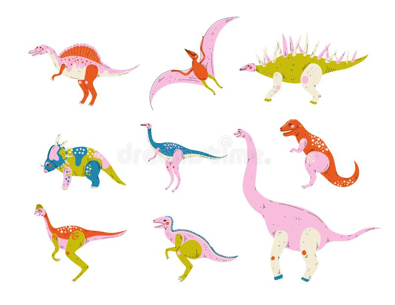Collection of Colorful Dinosaurs, Pterodactyl, Carnotaurus, Styracosaurus, Diplodocus, Compsognathus, Brachiosaurus. Brontosaurus, Tyrannosaurus, Velociraptor vector illustration