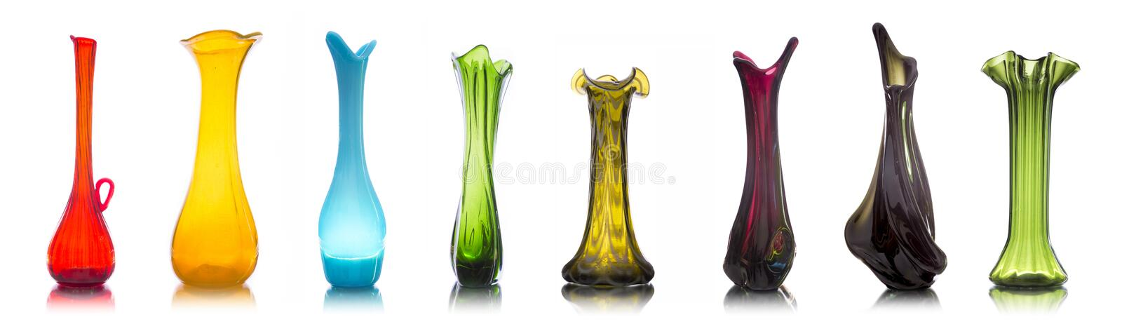 Collection Of Colorful Glass Vases On White Stock Image Image Of