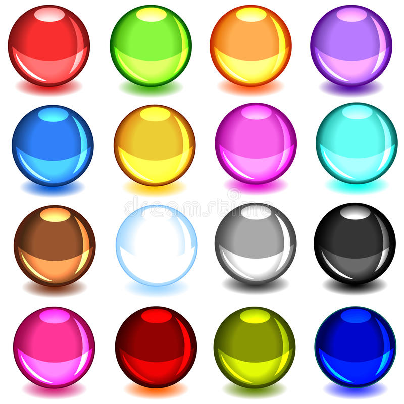 Collection of colorful glossy spheres royalty free illustration
