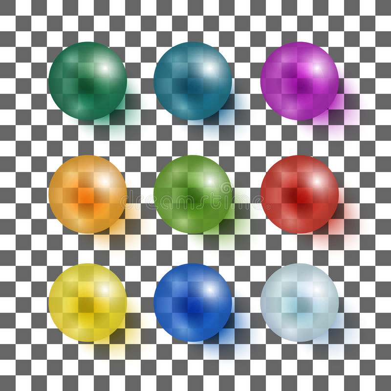 Collection of colorful glossy spheres vector illustration