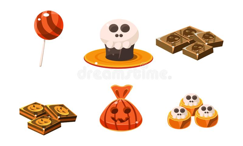 Collection of colorful Halloween sweets and candies, holiday sweet treats vector Illustration on a white background stock illustration