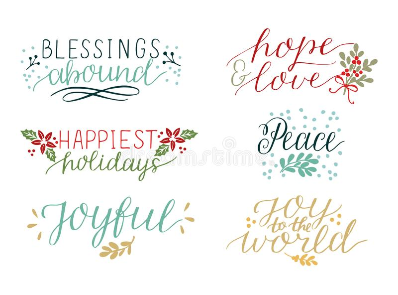 Collection with 6 colorful Holiday cards made hand lettering Blessings abound. Peace. Joy to the world. Joyful. Hope and. Collection with 6 Holiday cards made stock illustration