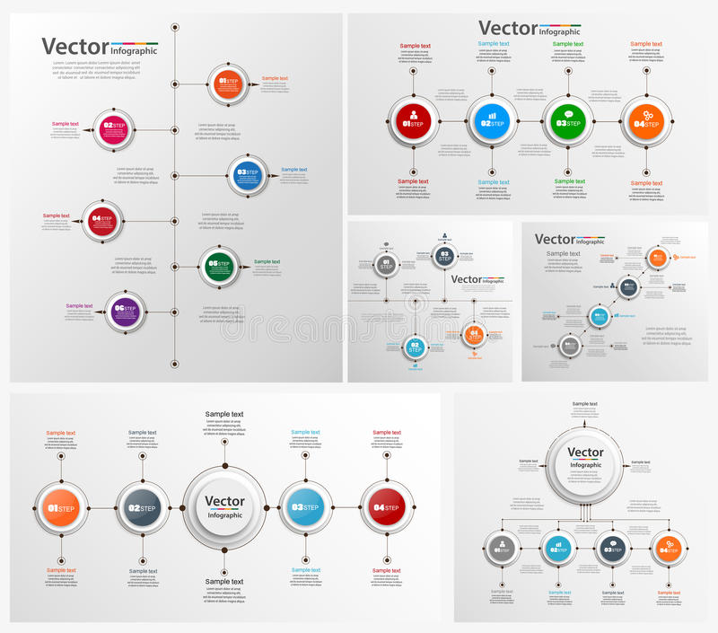 Collection of colorful infographic can be used for workflow layout, diagram, number options, web design vector illustration
