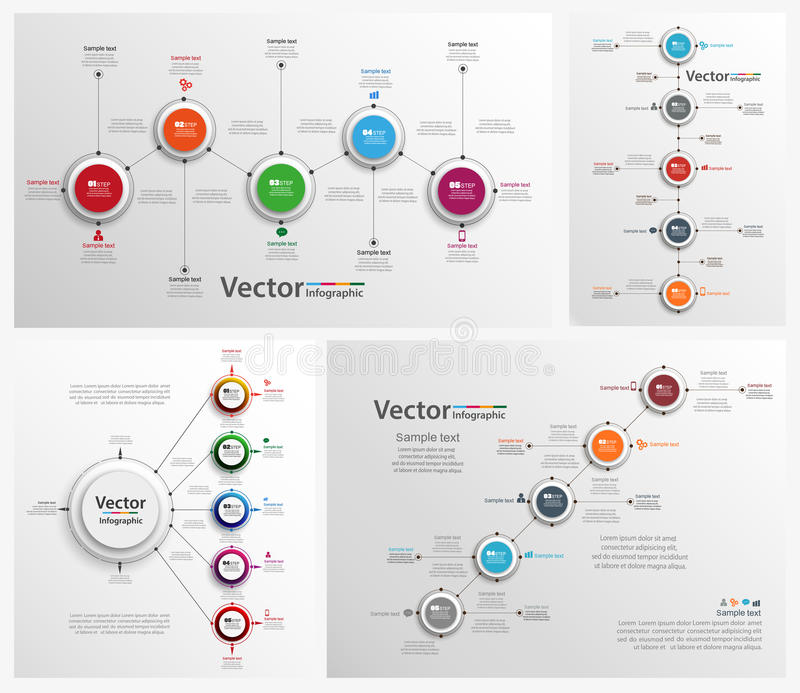Collection of colorful infographic royalty free illustration