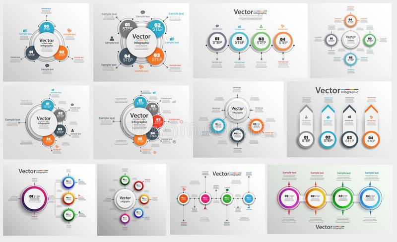 Collection of colorful infographic can be used for workflow layout, diagram, number options, web design. vector illustration