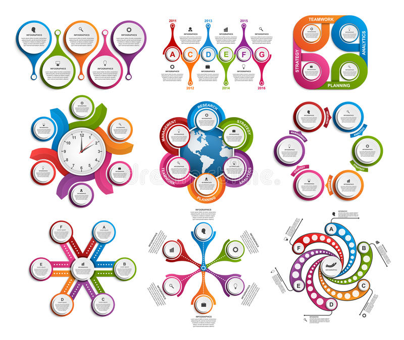 Collection of colorful infographics. Design elements. vector illustration