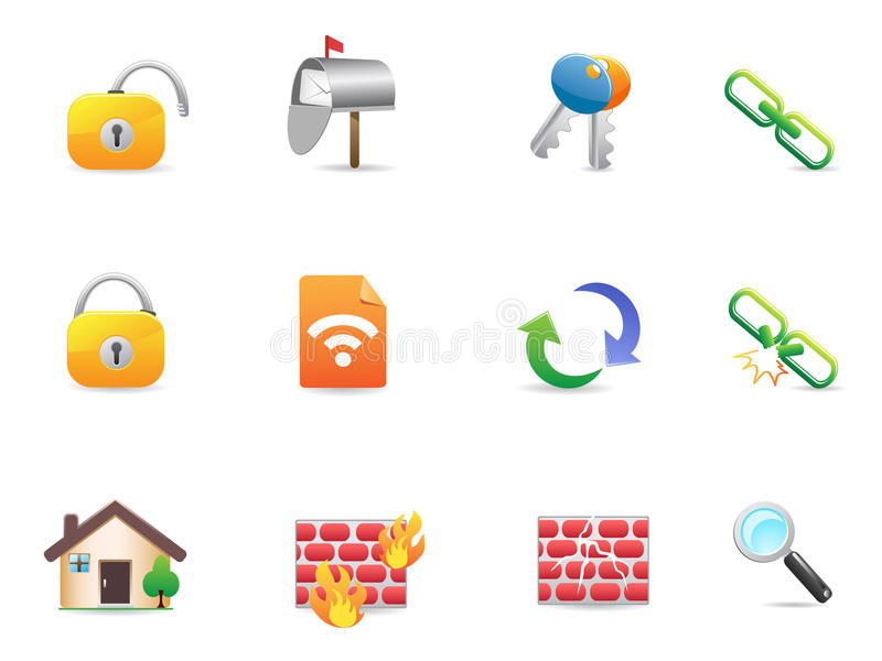 Collection of colorful Internet & Web Icons stock illustration