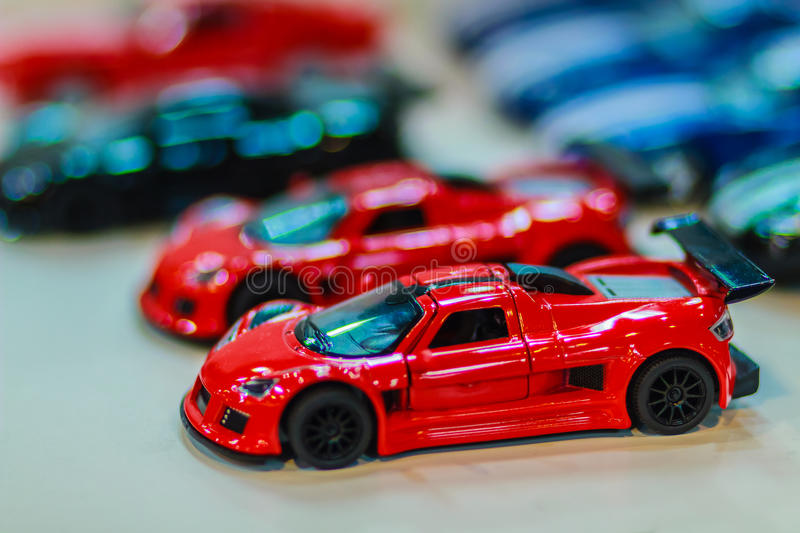 Collection of colorful little cute car. Close up cute tiny model. Of car, souvenir from Thailand stock photos