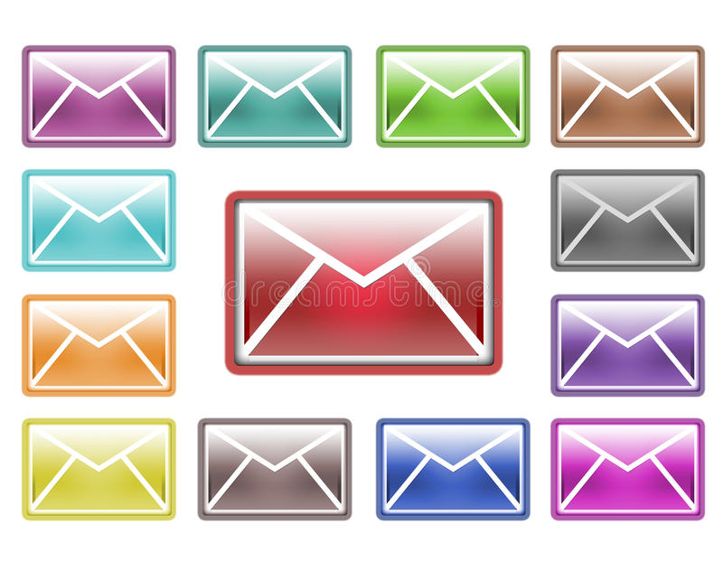 Collection of colorful mail icons royalty free stock photography