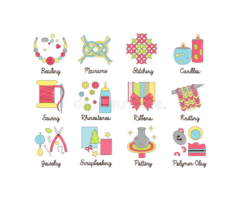 A collection of colorful modern cartoon outlined icons for various kinds of handmade, diy and craft activities. For web, presentations, stickers royalty free illustration