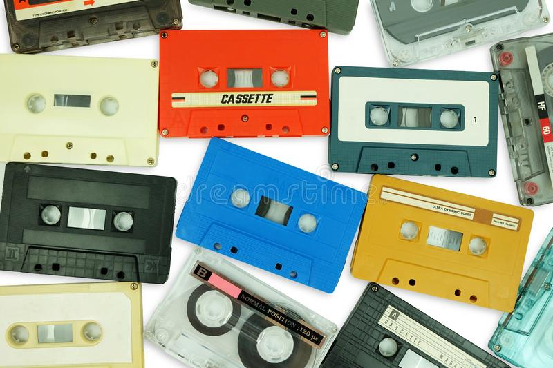 Collection of colorful old audio cassette tape isolated on a white stock photos