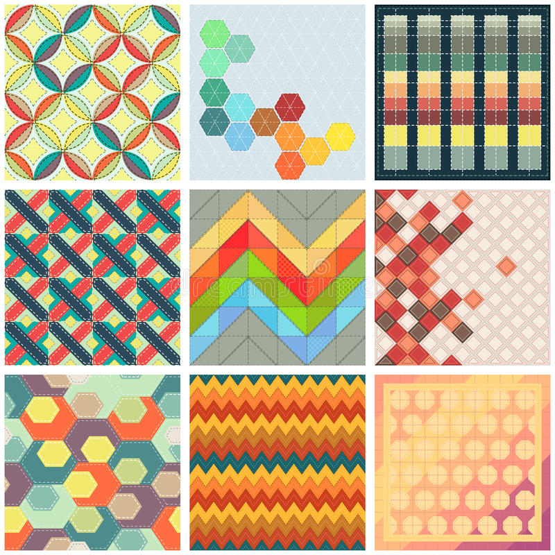 Collection of colorful patchwork backgrounds royalty free illustration