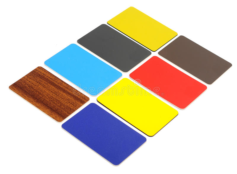 Collection of colorful plastic cards royalty free stock photography