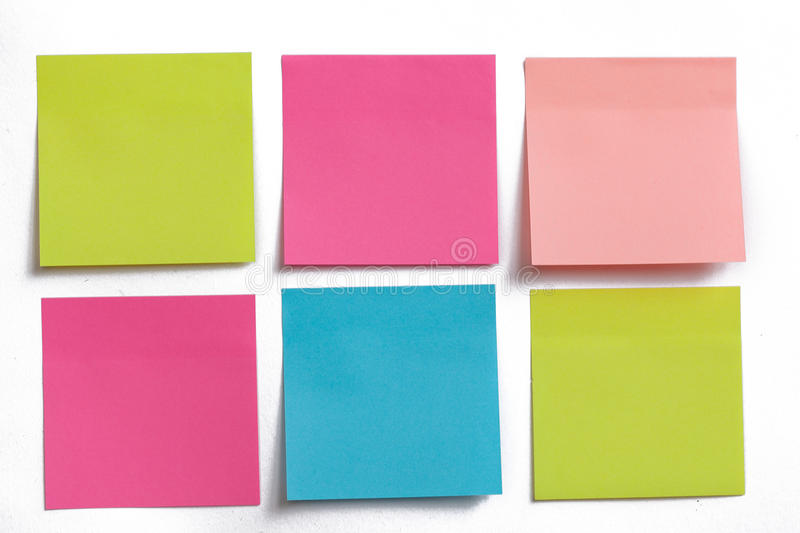 Collection of colorful post it paper note isolated stock images