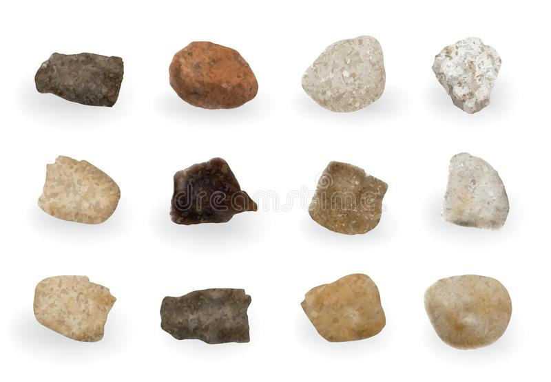 Round River Stones or Sea Pebbles Isolated stock photography
