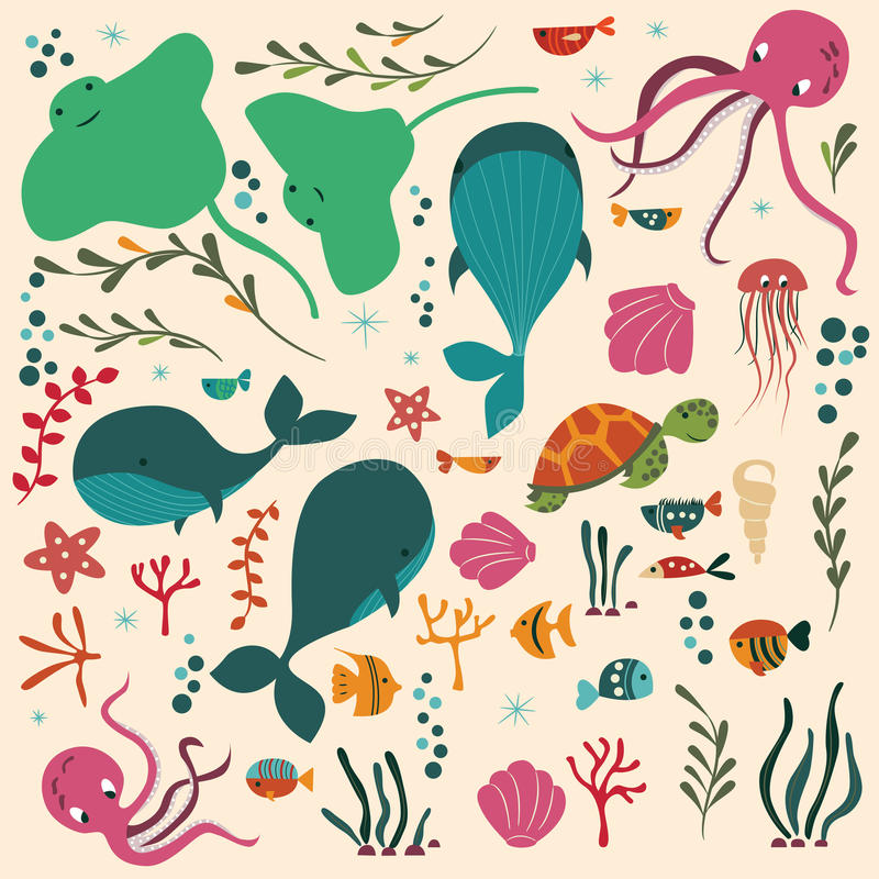Collection of colorful sea and ocean animals, whale, octopus, stingray, jellyfish, turtle, coral. Vector illustration royalty free illustration