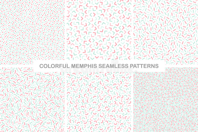 Collection of colorful seamless memphis patterns. Delicate design. royalty free illustration