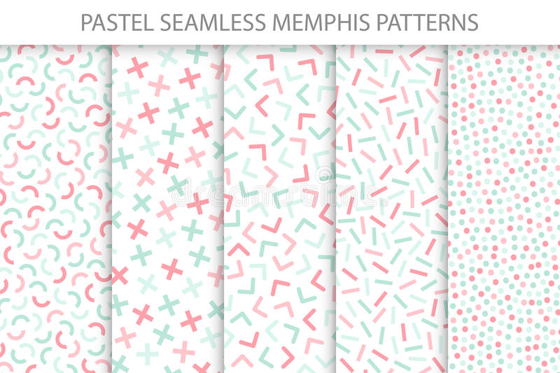 Collection of colorful seamless memphis patterns. Soft colors - delicate design. royalty free illustration