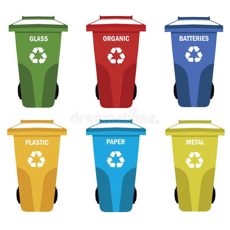 Collection of colorful separation recycle bin icon organic - Poubelle recyclage cuisine ...