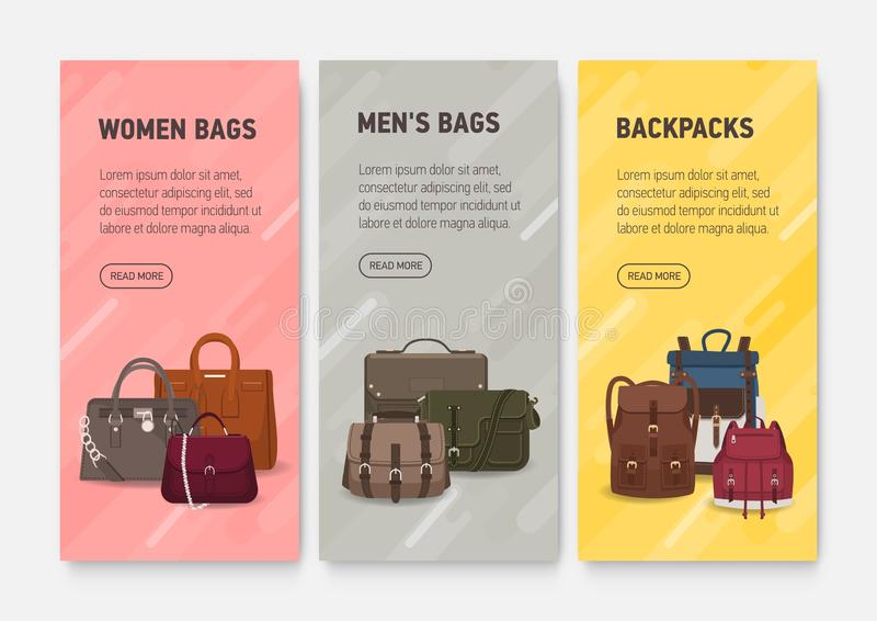 Collection of colorful vertical web banner templates with men`s and women`s handbags, backpacks and place for text stock illustration