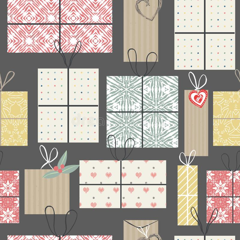 Collection of colorful vintage wrapped present boxes seamless pattern background. For holidays and celebrations stock illustration
