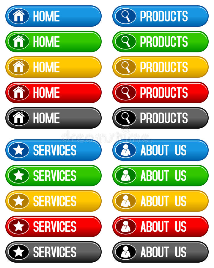 Home Products Services Buttons stock illustration
