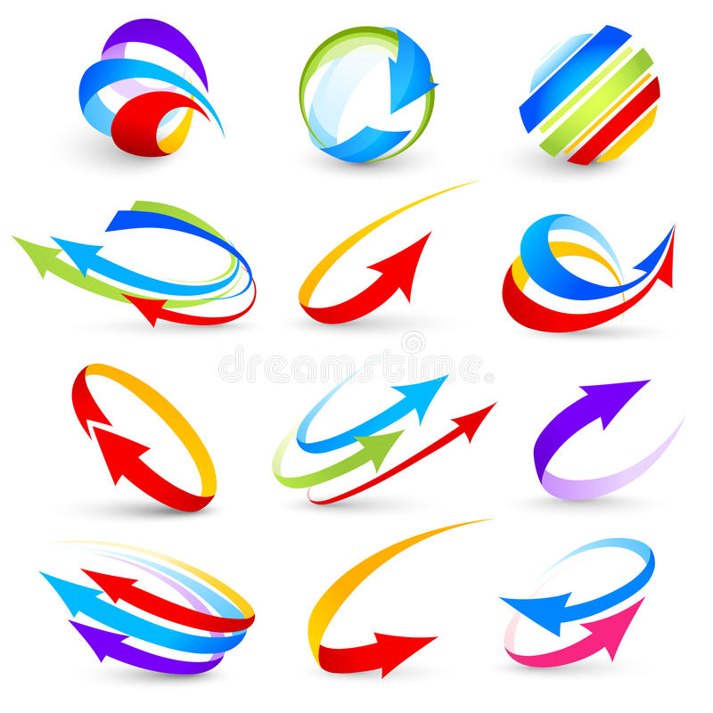 Collection Of Colour Arrows Stock Photography