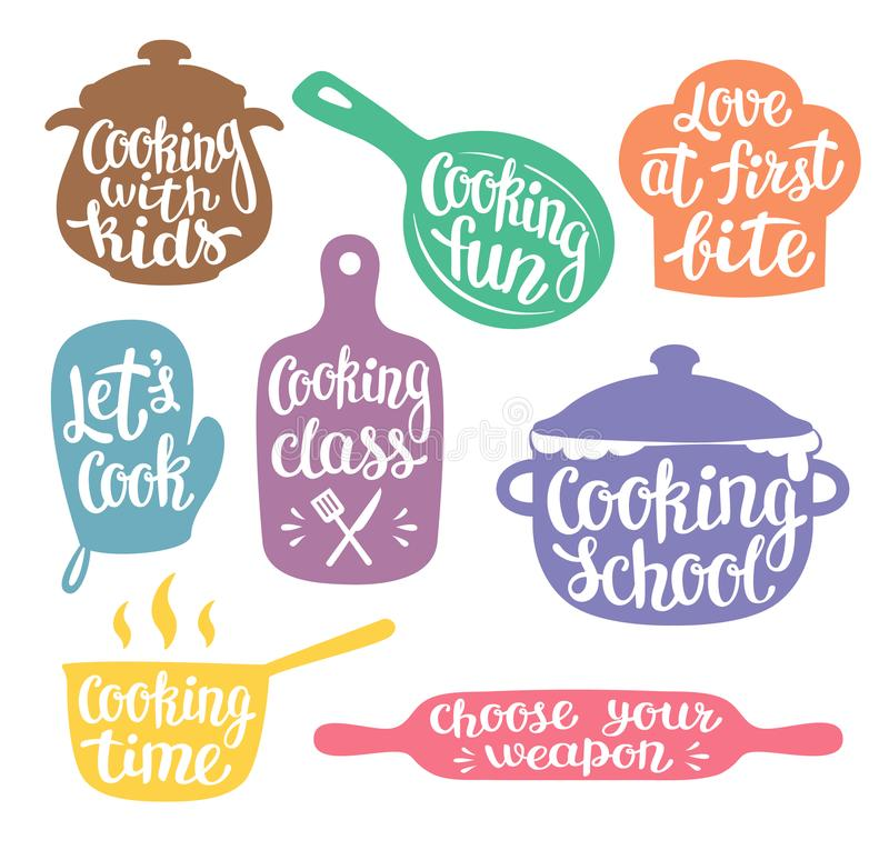 Collection of coloured silhouettes for cooking label or logo. Cooking vector illustration with hand written lettering, calligraphy. Cook, chef, kitchen royalty free illustration