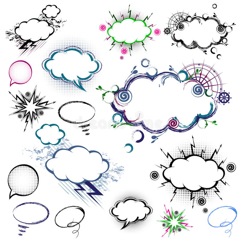 Collection of comic style speech bubbles - vector royalty free stock photos