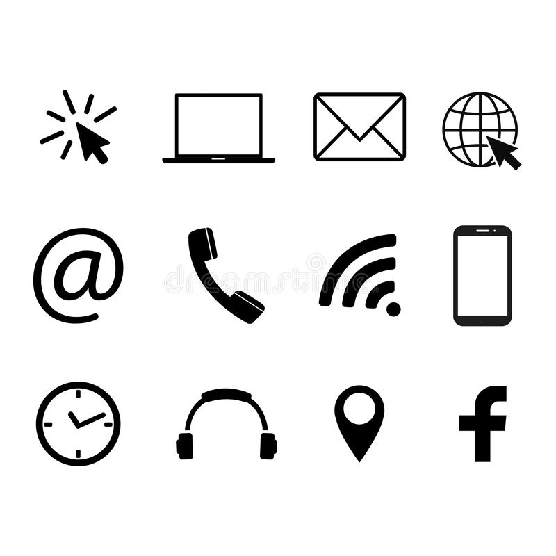 Collection of communication symbols. Contact, e-mail, mobile phone, message, social media, wireless technology icons. Vector illus. Collection of communication stock illustration