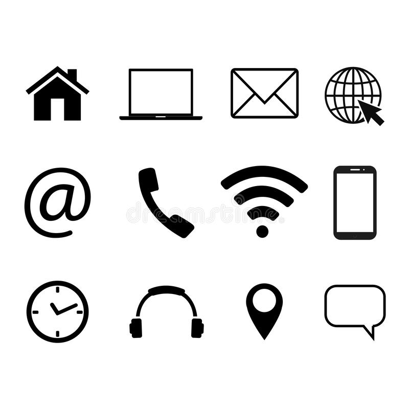 Collection of communication symbols. Contact, e-mail, mobile phone, message, wireless technology icons. Vector illustration. Collection of communication symbols vector illustration
