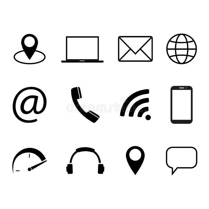 Collection of communication symbols. Contact, e-mail, mobile phone, message, wireless technology icons. Vector illustration. Collection of communication symbols royalty free illustration